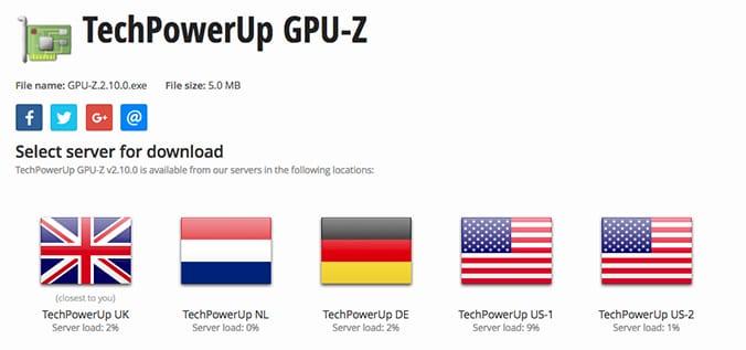 lista de servidores para descarga de gpu-z